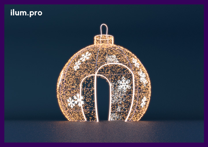 Новогодняя световая фигура ёлочная игрушка со снежинками на новый год