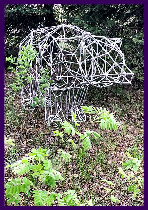 Полигональный медведь из алюминиевого прутка в стиле лофт