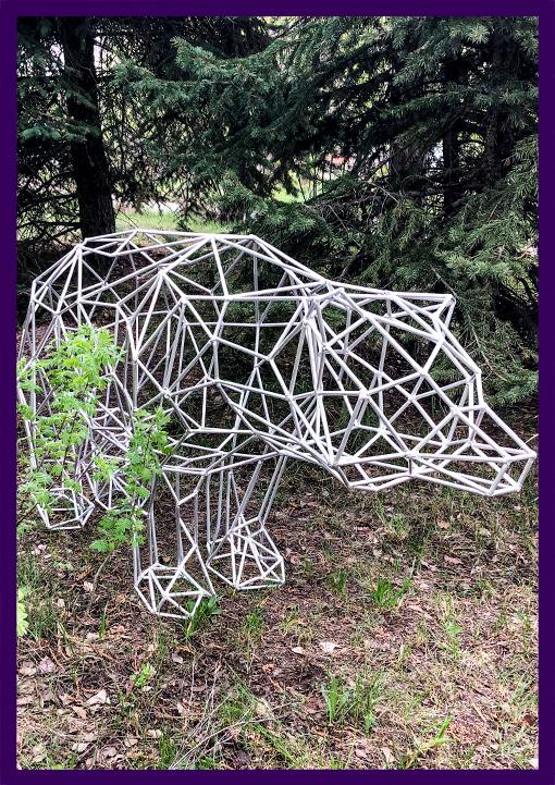 Алюминиевый полигональный медведь для украшения лофта