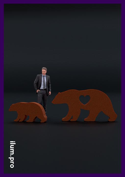 Декоративные медведи из кортеновской стали для сада