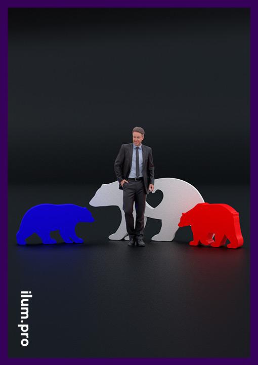 Семья медведей, фигуры для сада белого синего и красного цвета