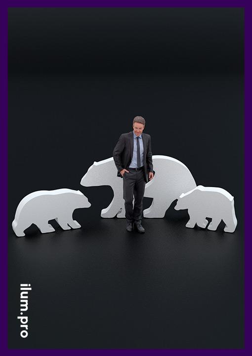 Белые металлические медведи - садово-парковые фигуры