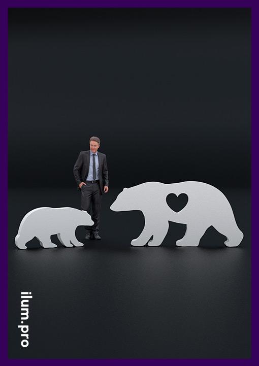 Металлические садово-парковые скульптуры медведей