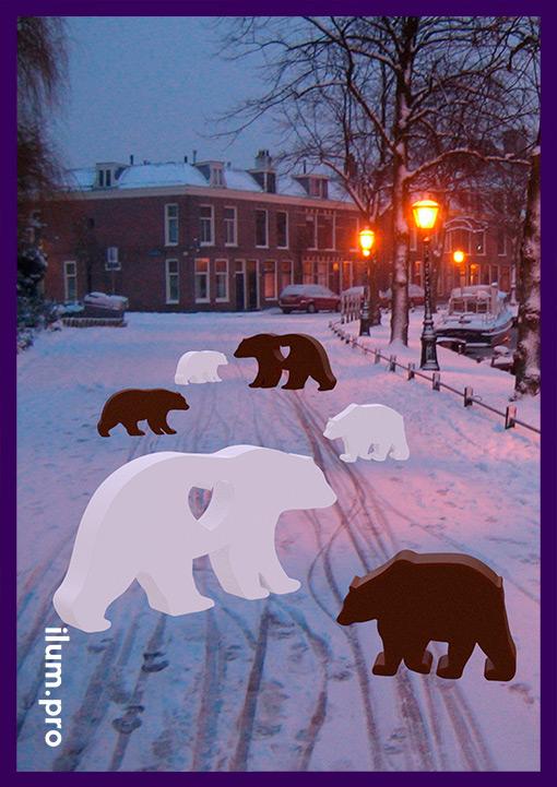 Металлические фигуры медведей белого цвета и из кортеновской стали