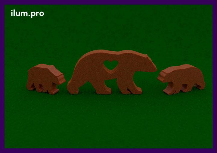 Декоративные фигуры медведей для сада с эффектом ржавчины