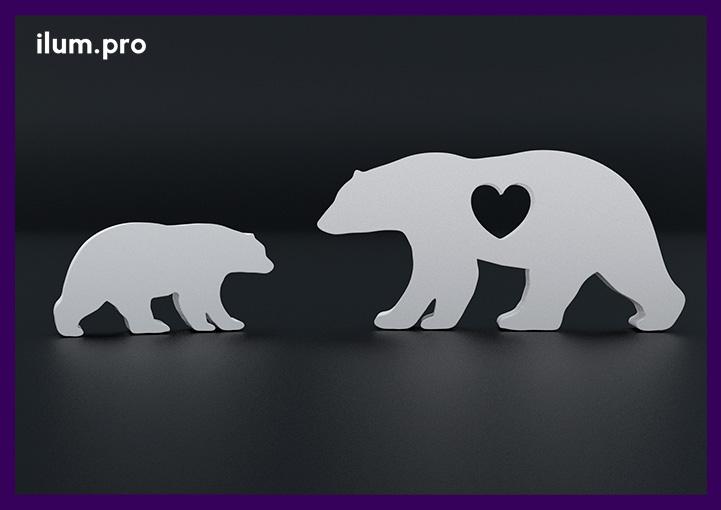 Металлические медведи с сердцем для улицы