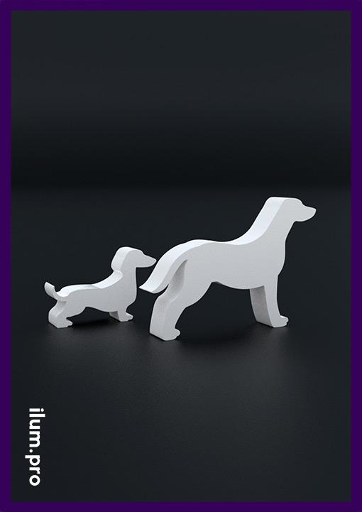 Ландшафтные скульптуры собак из стали с белой краской