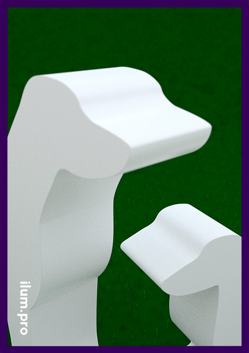 Металлические скульптуры собак белого цвета для украшения участка