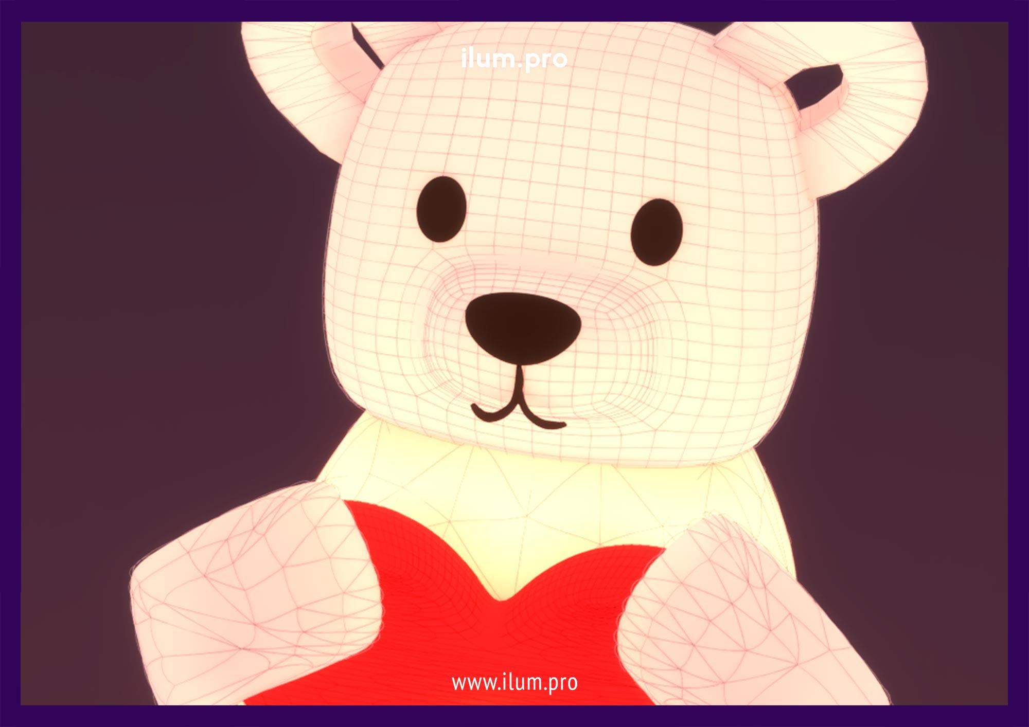 Мишка надувной с сердцем в руках