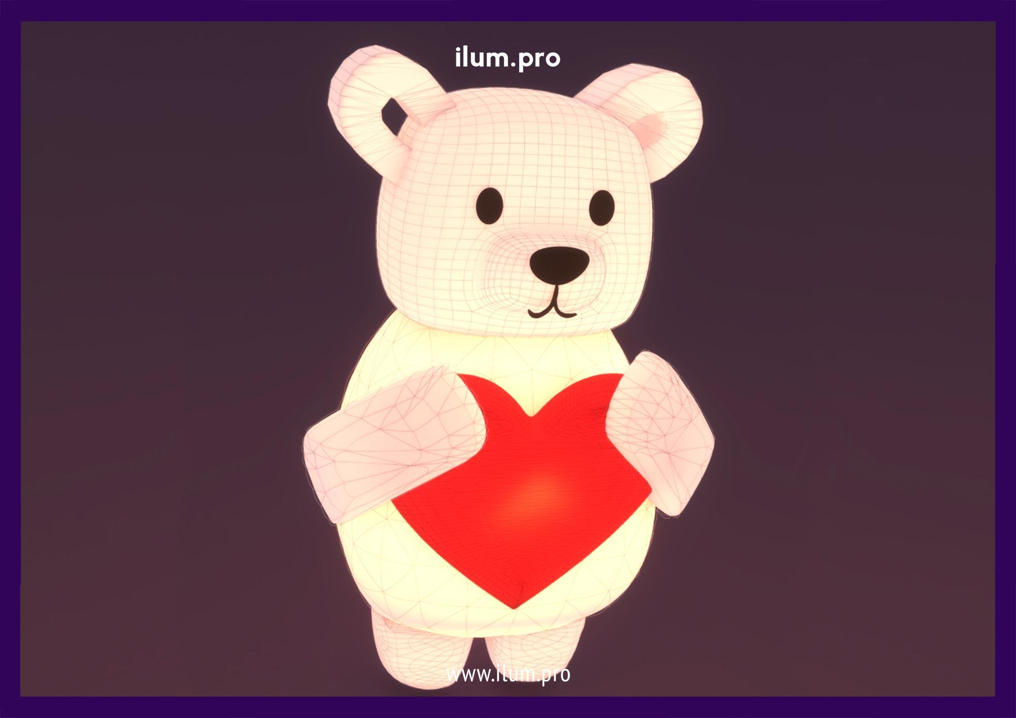 Надувной медведь с сердцем в руках