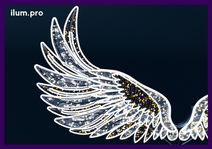 """Фотозона с подсветкой """"Крылья ангела"""" из гирлянд"""