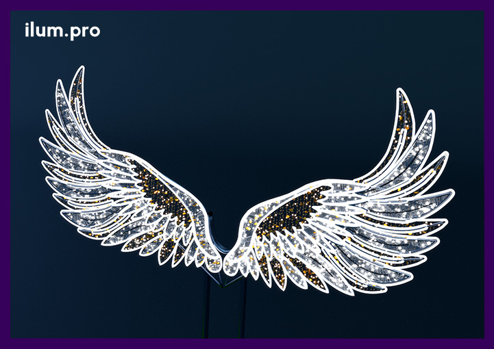 Фотозона с подсветкой в форме крыльев