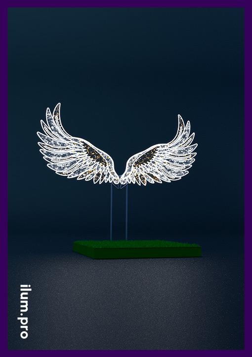 Крылья светодиодные на подиуме - фотозона для праздника