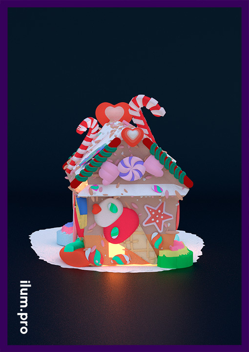 Разноцветный пряничный домик в леденцах и конфетах