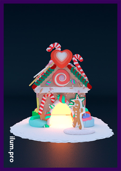 Дом пряника с конфетами и леденцами