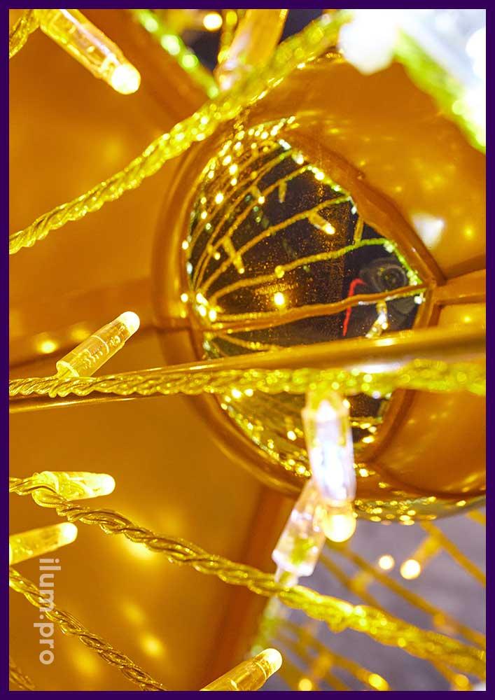 Фотозона со светящимися золотыми звёздами