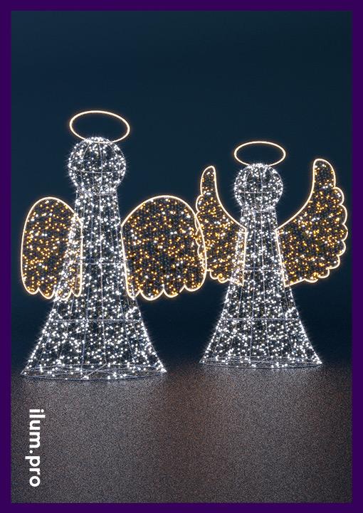 Ангелы из металла и светодиодных гирлянд