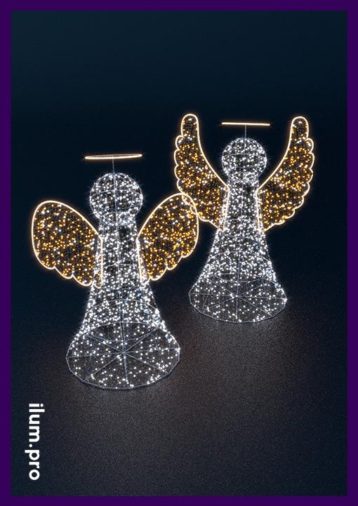 Каркасные фигуры ангелов с подсветкой