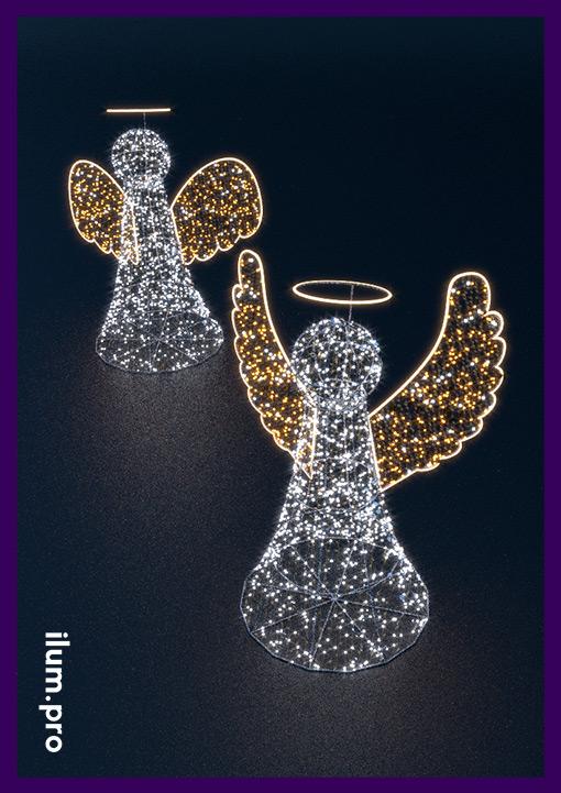 Светодиодные фигуры с золотыми крыльями
