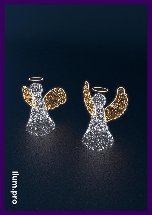 Светодиодные ангелы с гирляндами и золотыми крыльями