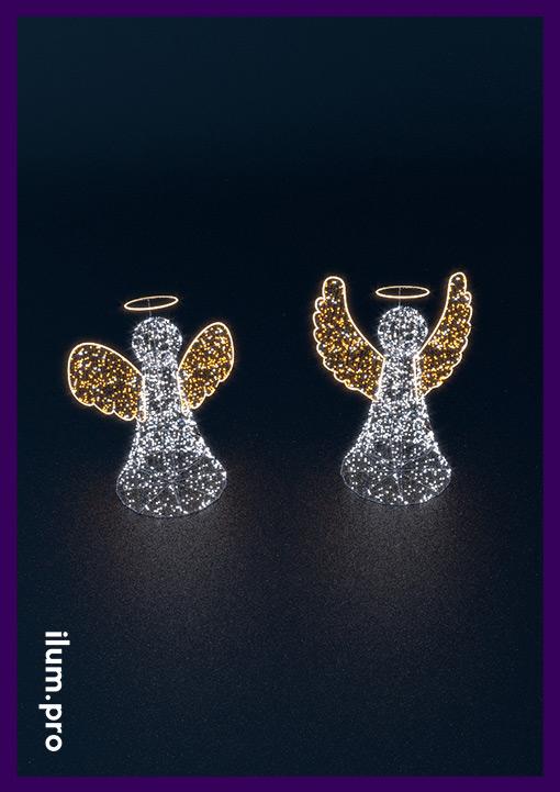 Новогодние световые фигуры ангелов с подсветкой