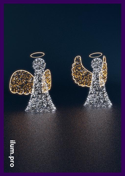 Ангелы светодиодные из металлического прутка и гирлянд