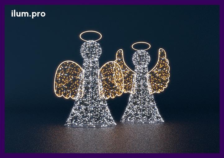 Фигуры светодиодных ангелов с крыльями и нимбом