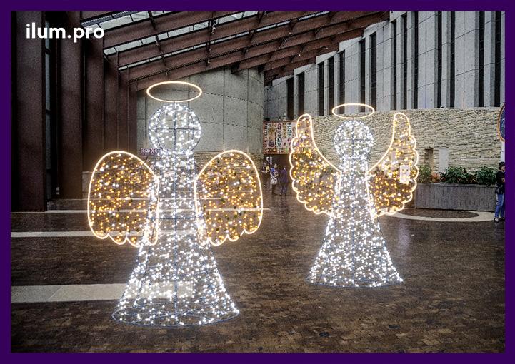 Рождественские фигуры из металла со светодиодными гирляндами