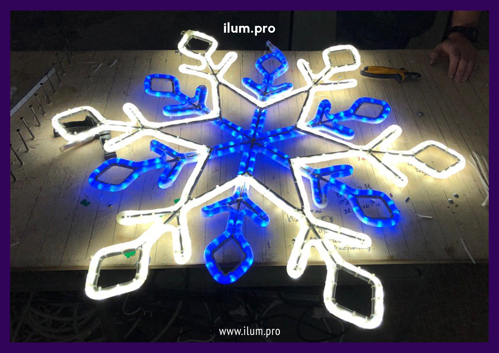 Снежинка светодиодная из дюралайта на производстве