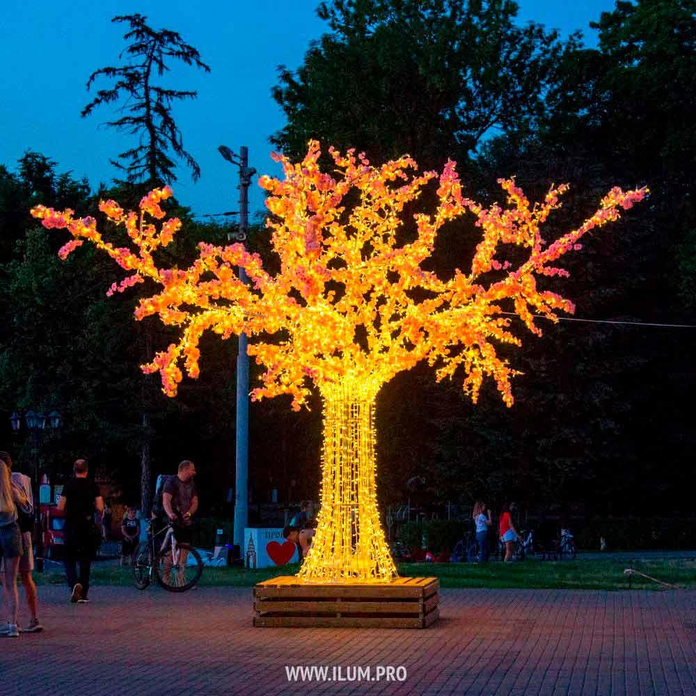 Светодиодная «Сакура» с гирляндами и цветами во Владимире