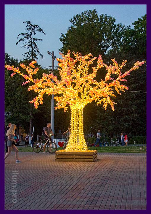 Светящееся дерево во Владимире на Соборной площади