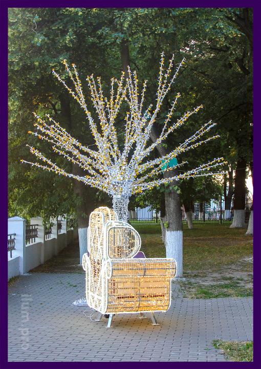 Фотозона в парке - светодиодный трон и дерево с подсветкой