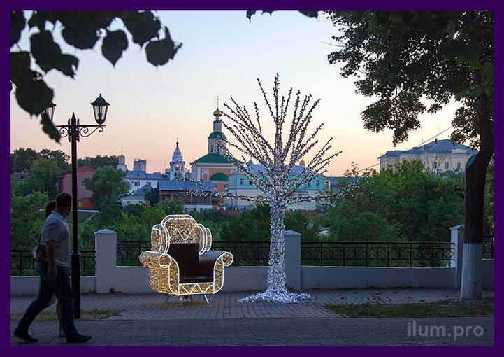 Объёмные светодиодные украшения для парка на праздники