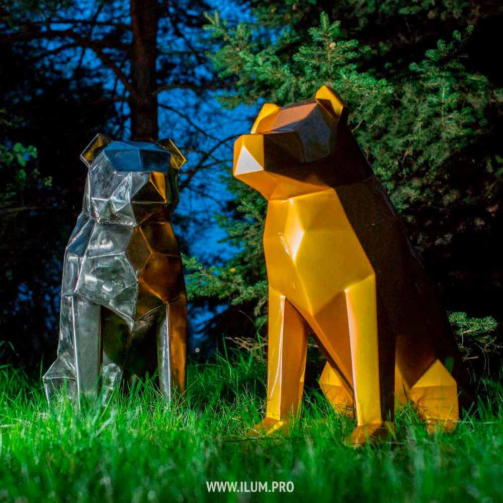 Полигональные собаки из металла