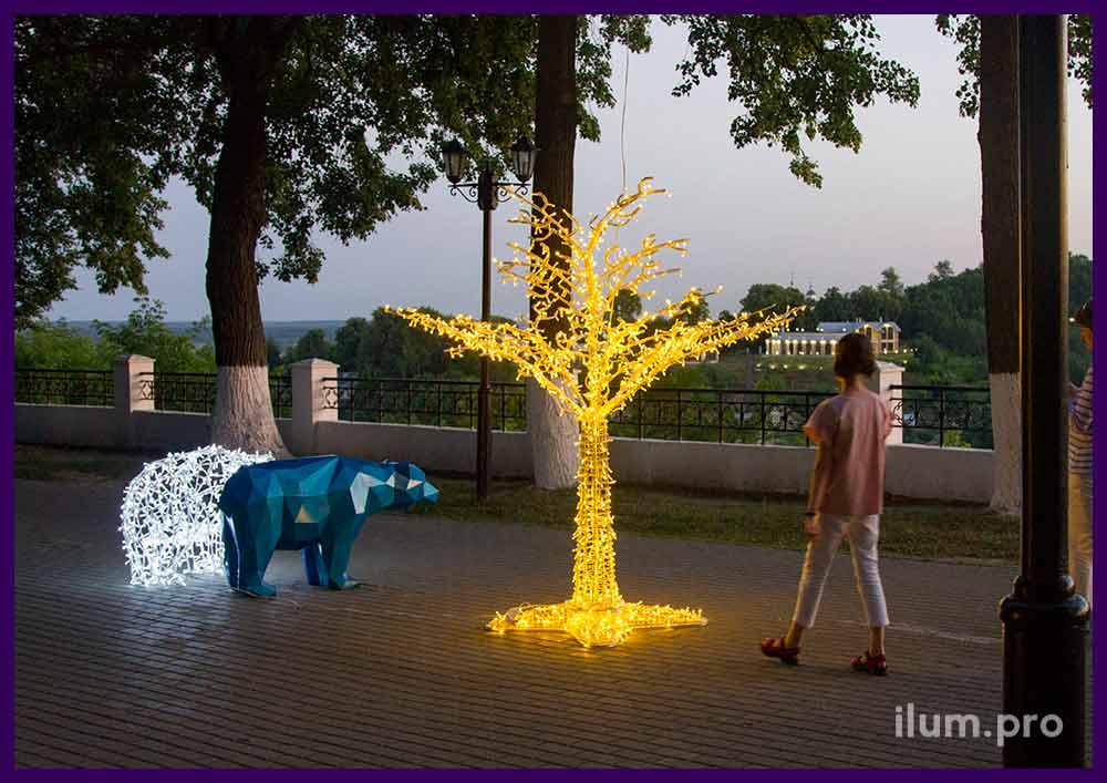 Дерево из металла со светодиодами для улицы