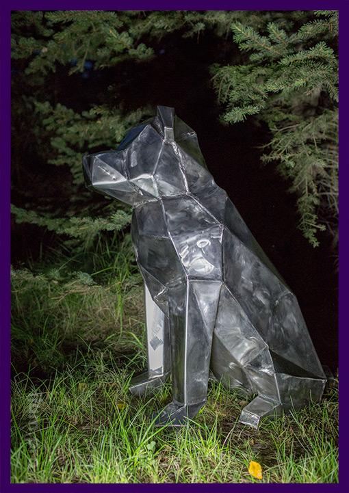 Полигональная собака из нержавеющей стали в стиле лофт