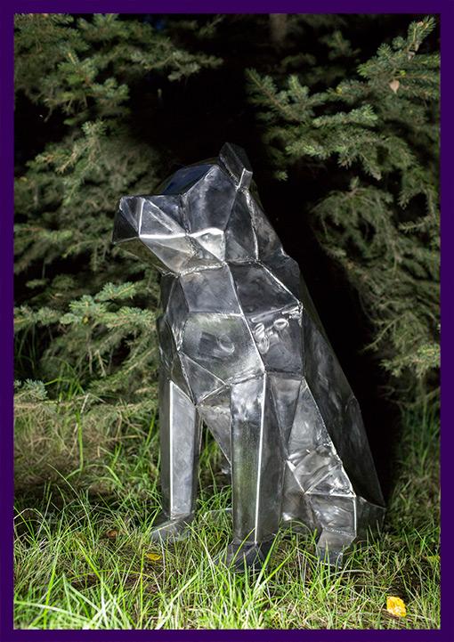 Нержавеющая полигональная собака для украшения лофта