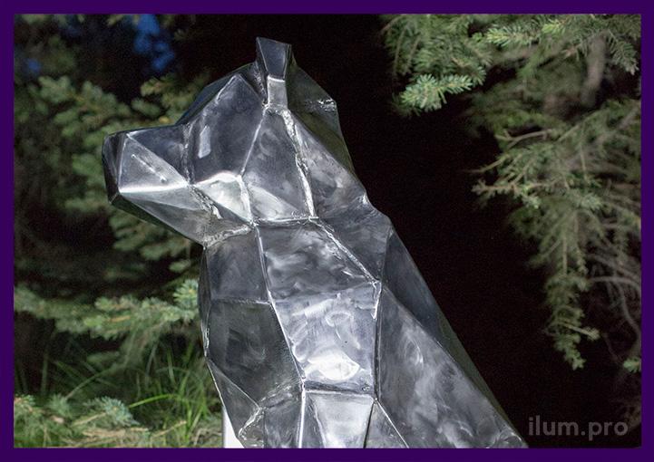 Голова полигональная собаки из нержавеющей стали в стиле Mad Max