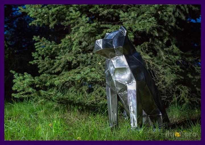 Собака нержавеющая полигональная для украшения сада и интерьера