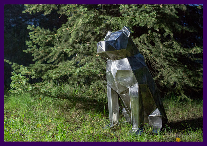 Собака металлическая полигональная - скульптура для улицы и интерьера из нержавейки