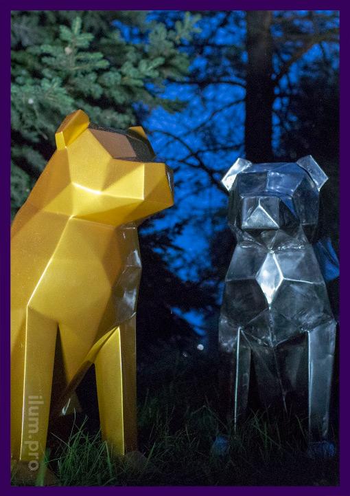 Низкополигональные модели собак из стали для улицы и интерера