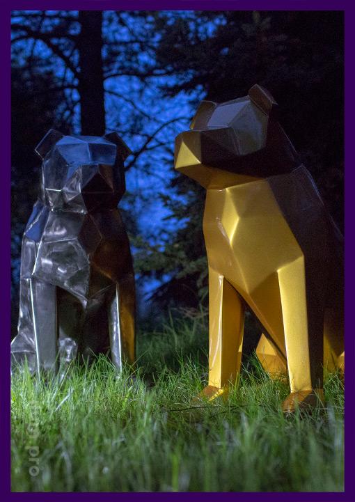 Металлические собаки полигональные для лофта и улицы