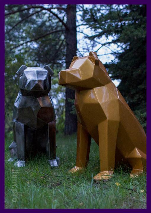 Lowpoly собаки из стали для украшения улицы или интерьера