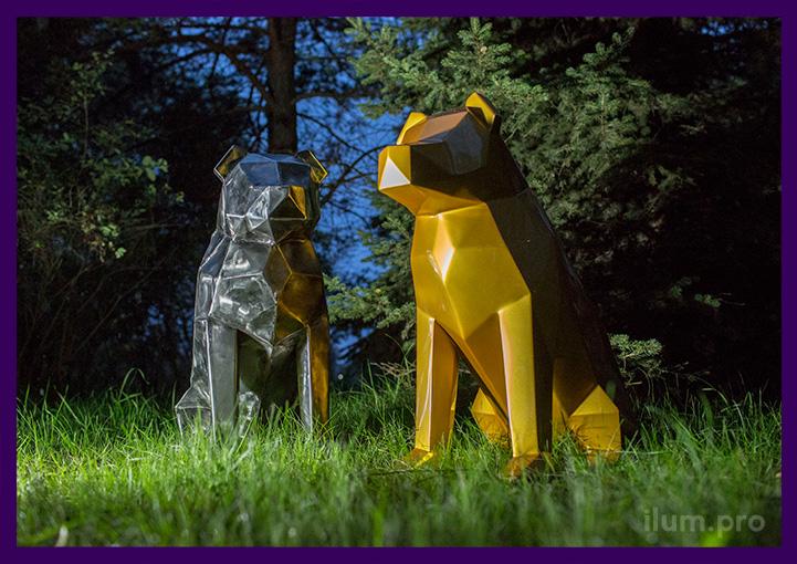 Собаки полигональные из стали и нержавейки для улицы