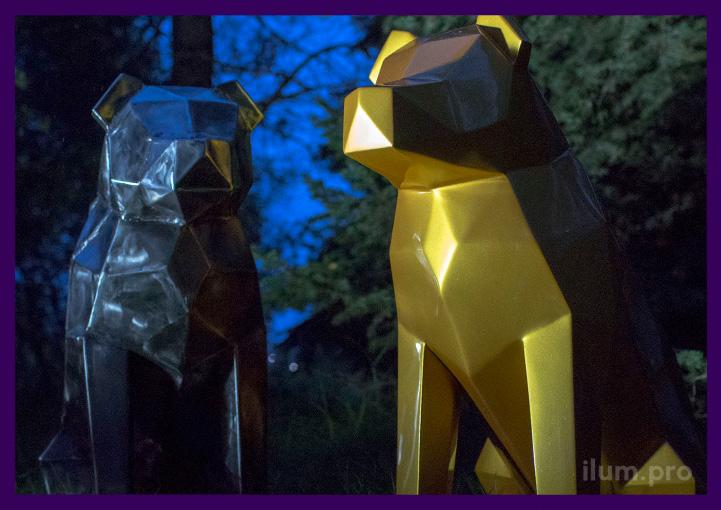 Скульптуры собак металлические, полигональные в стиле лофт