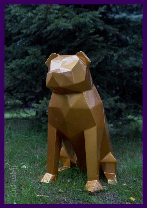 Собака полигональная золотая из стали с покрытием