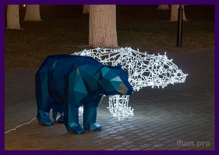 Уличные полигональные фигуры медведей из металла с подсветкой и без