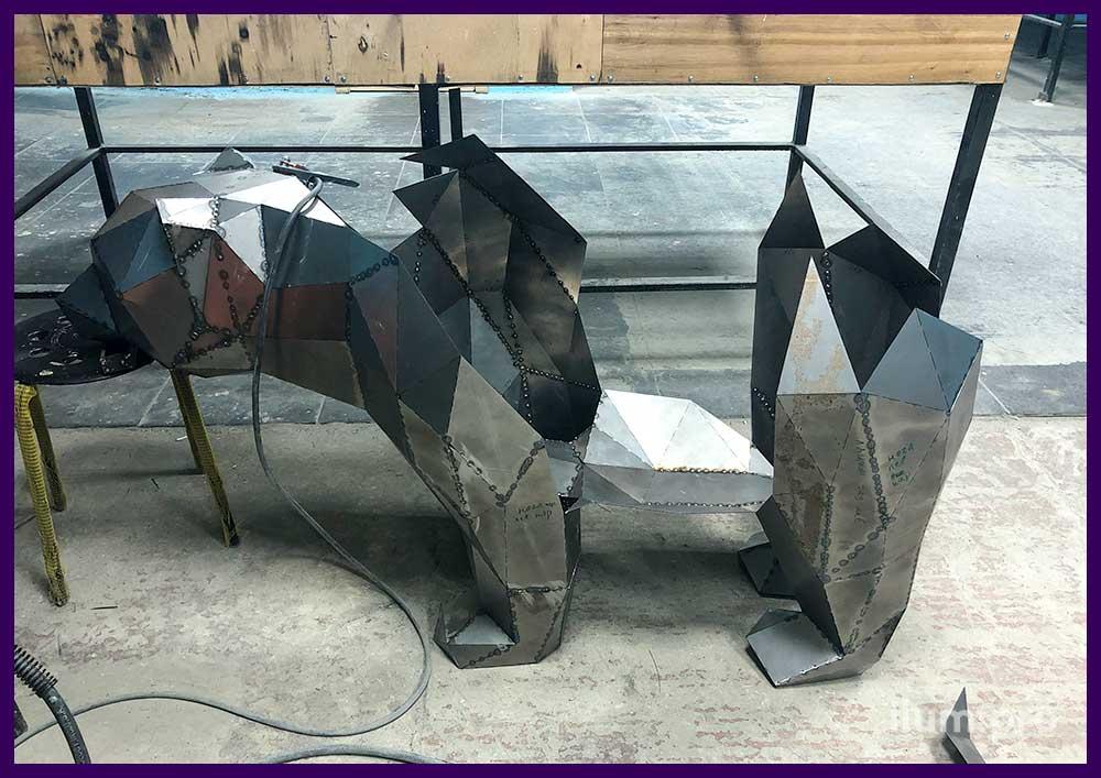 Детали стальной полигональной фигуры