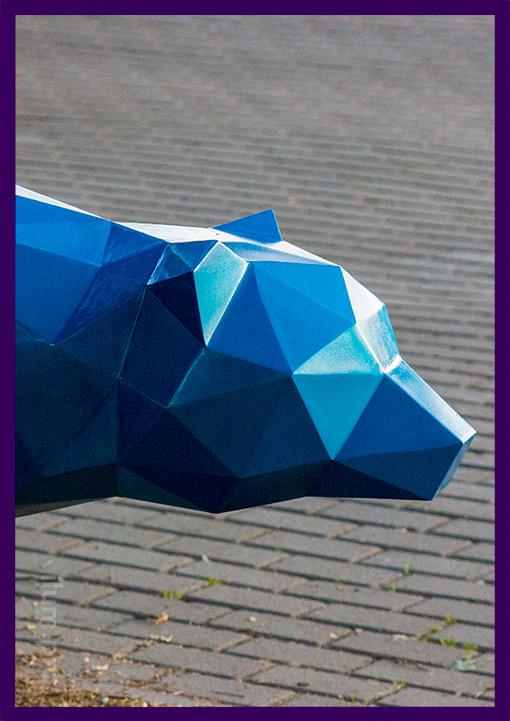 Полигональная голова медведя из металла
