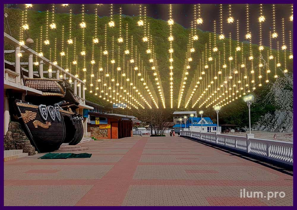 Проект украшения набережной ГРК Альбатрос светодиодными гирляндами
